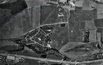 Letecké foto motolského meziválečného hřiště