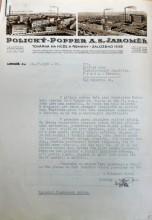 Dopis z firmy Polický – Popper z roku 1938, kterým zástupce této továrny oznamuje, že v jejich zámeckém parku budují golfové hřiště. Od Golfového svazu ČSR žádají radu ohledně toho, jak vlastně má takové hřiště vypadat.