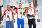 Medailisté celého závodu: vlevo bronzový Jaroslav Jára, uprostřed vítěz Jiří Spudich a vpravo stříbrný Jiří Boukal