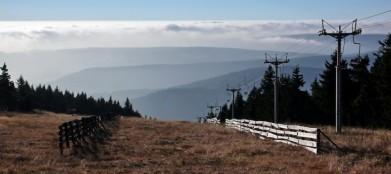 Z vrcholu Klínovce směrem na západ