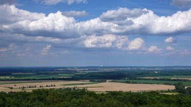 Z Kaňku - pohled východním směrem, vzadu komín elektrárny Chvaletice
