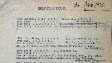 Seznam členů Golf Clubu Praha z roku 1931