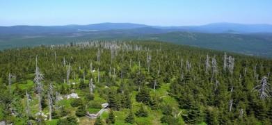 Centrální část Jizerských hor, vpravo na obzoru už jsou vidět i Krkonoše