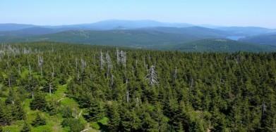 Velký kus Jizerských hor a ještě Krkonoše v pozadí. Vpravo nádrž Souš, vlevo uprostřed je trochu vidět homolka Bukovce.