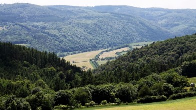 Z rozhledny Velká Buková, údolí Berounky u Nezabudic. Tady by se rozkládala velká vodní plocha.