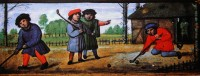 Vyobrazení z Vlámska, polovina 16. století. I na kontinentě už se tehdy hrálo s holemi a míčkem.