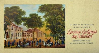 Vrchní list turnajových propozic, idylický biedermeirovský výjev Baden-Badenu z 19. století