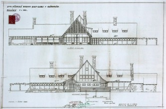 Plány klánovické klubovny, jak je v roce 1938 nakreslil architekt Victor Fürth