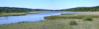 Dolejší Padrťský rybník z hráze Hořejšího v Brdech